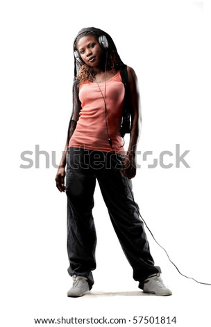 young black woman listen music - stock photo