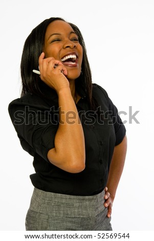 Young black woman talking on telephone. - stock photo