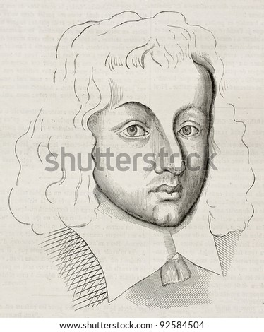 Young Blaise Pascal (age 25) old engraved portrait. Created by Domat, published on Magasin Pittoresque, Paris, 1845 - stock photo