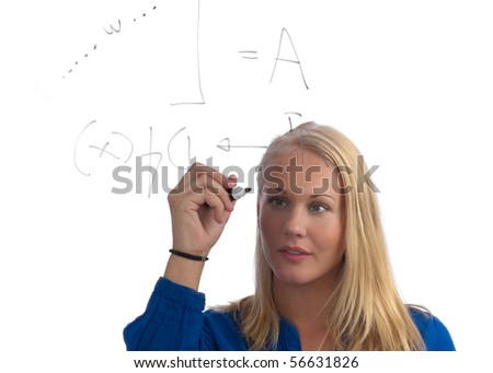 Young, blond, beautiful, caucasian student solving a mathematical problem on a glass board on white background