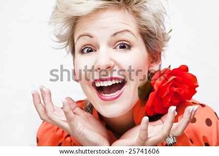 Young blond beautiful woman in hysterical gesture. - stock photo