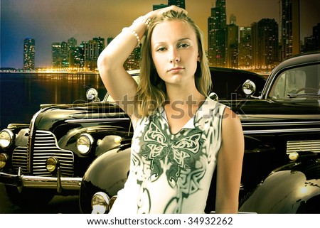young blond beauty against vintage cars - stock photo