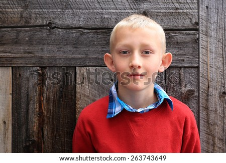 Young blond boy in a red sweater with a rustic wood background. - stock photo