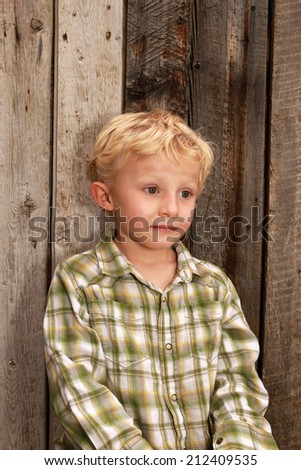 Young blond boy with a rustic wooden background.  - stock photo
