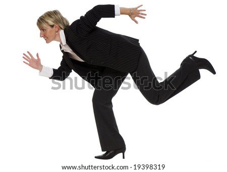 young blond business woman running, isolated on white - stock photo