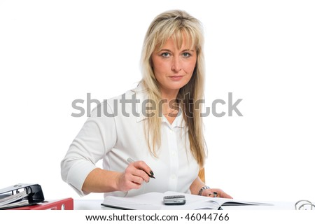 young blond businesswoman is planning dates