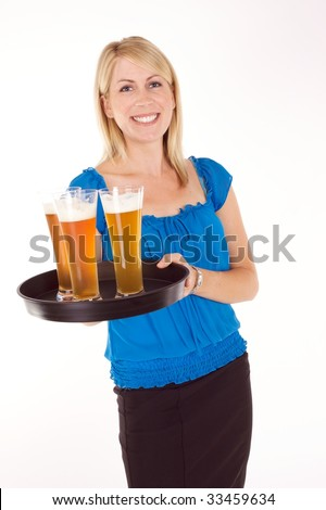 Image result for picture of waitress serving beer