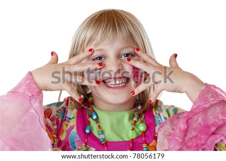 Young blond disguised girl shows red fingernails and laughs. Isolated on white background.. - stock photo