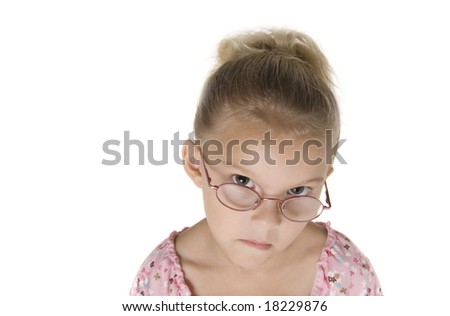 Young blond girl mad because mom hasn't bought your product yet.  Isolated on White.