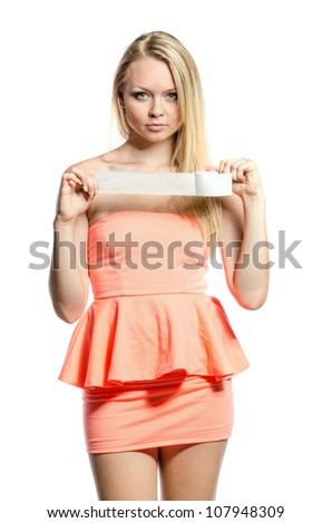young blond girl with adhesive tape - stock photo