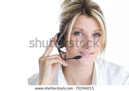young blond girl with headphones - stock photo