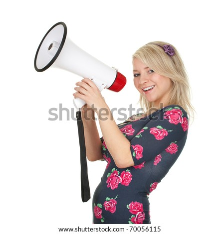 young blond hair woman with white megaphone