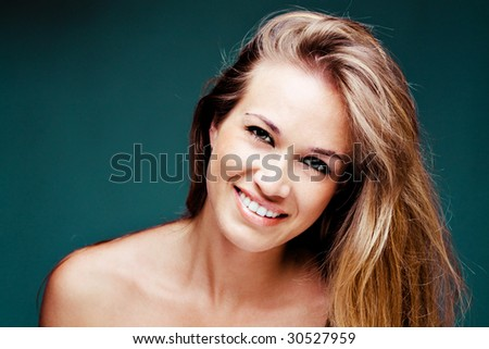 young blond natural smiling  woman portrait - stock photo