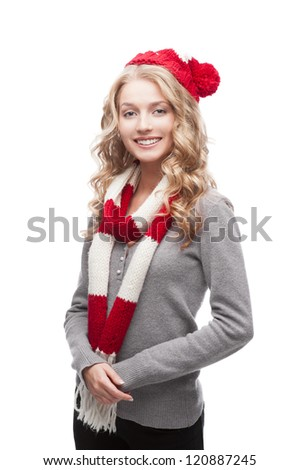 young blond smiling casual woman in red scarf and hat