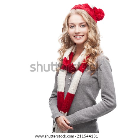 young blond smiling casual woman in red scarf and hat - stock photo