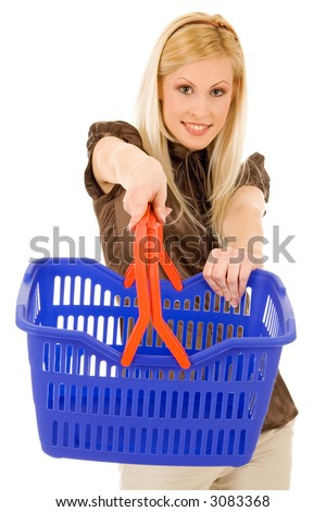 Young blond with shopping basket, isolated on white