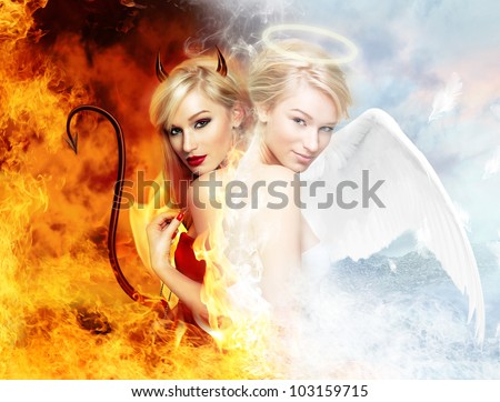 Young blond woman as half devil half angel - stock photo
