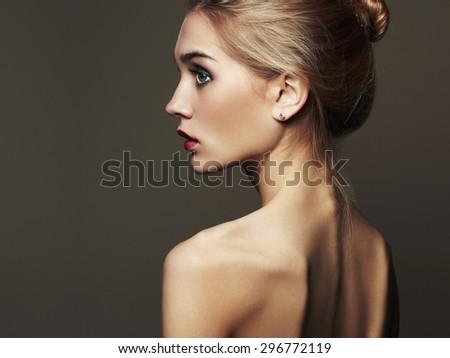 Young blond woman.Beautiful blonde Girl.close-up fashion portrait.naked body - stock photo