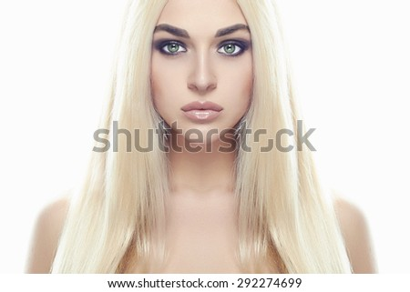 Young blond woman.Beautiful Girl.close-up fashion portrait isolated on white background - stock photo