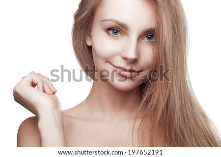 Young blond woman beautiful hair isolated on white background. healthy cheerful smile. studio photoshoot - stock photo