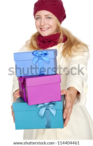 young blond woman get a gift for christmas - stock photo