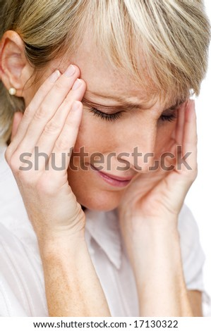 young blond woman having a headache close up - stock photo