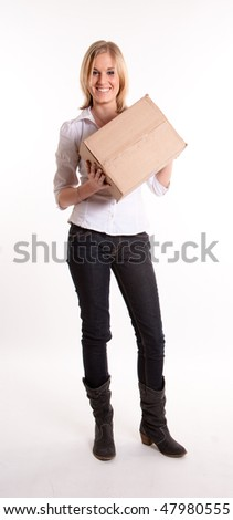 Young blond woman holding a cardboard box - stock photo
