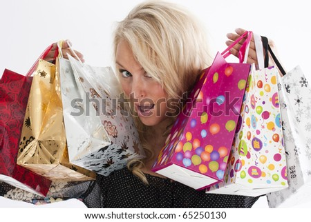 Young blond woman shopping
