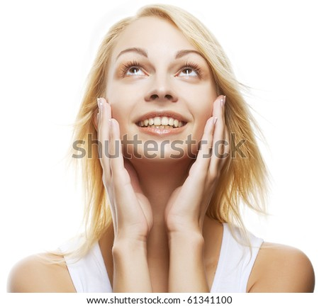 young blond woman surprised expression close up shoot - stock photo