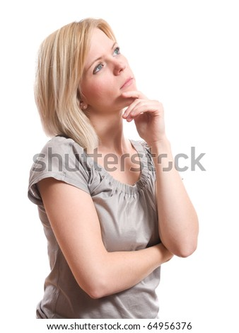 young blond woman thinking looking up isolated on white