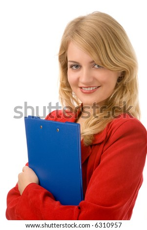young blond woman with folder on white background