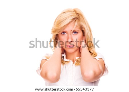 Young blond woman with neck pain - stock photo