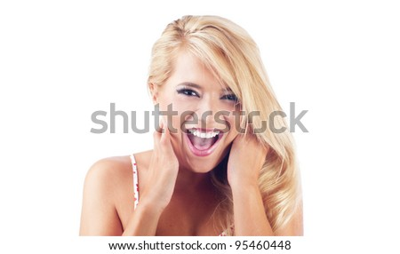 Young blond women screaming, she is lucky - stock photo