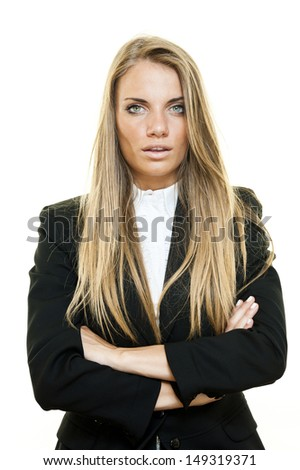 Young blonde business woman posing on white background