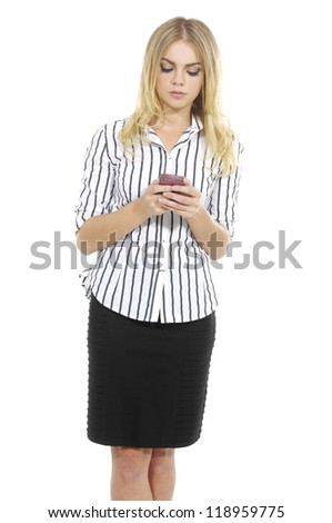 young blonde business woman using smart phone. - stock photo