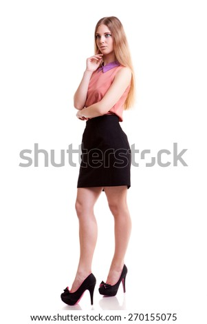 Young blonde businesswoman looking away isolated on white background. Young, rich and powerful businessperson. Gorgeouns blonde model in jacket over white backgound - stock photo