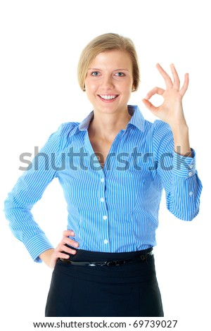 young blonde businesswoman shows OK gesture, isolated on white - stock photo