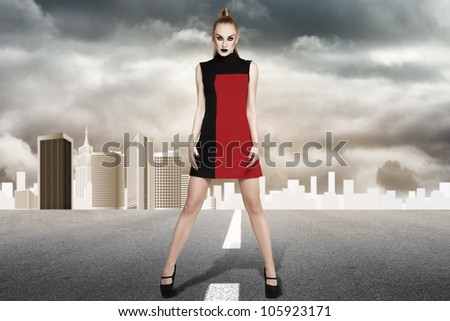 Young blonde fashion model posing for lookbook portfolio
