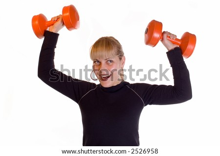 Young blonde girl doing daily fitness exercise