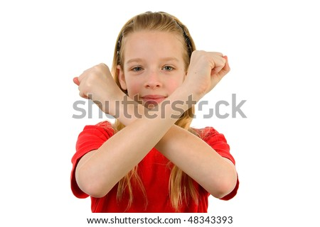 Young blonde girl is making X sign with her arms, over white background - stock photo