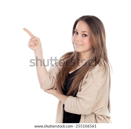 Young blonde girl pointing with the finger isolated on a white background - stock photo