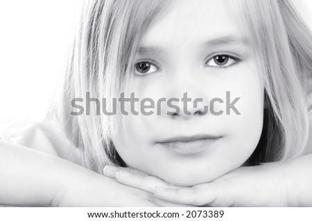 young blonde girl portrait - stock photo