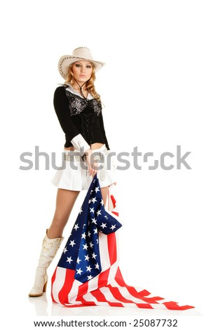 Young blonde girl with american flag isolated over white - stock photo