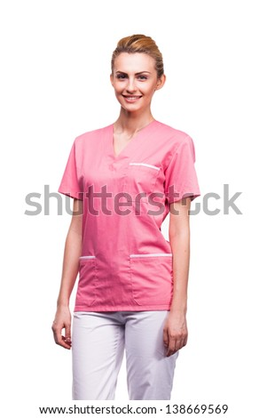 young blonde nurse isolated on white - stock photo