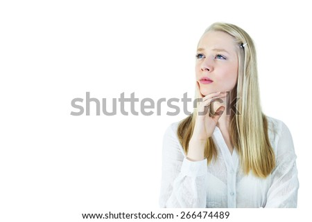 Young, blonde,  pensive woman looking away. Isolated on white, copy space - stock photo