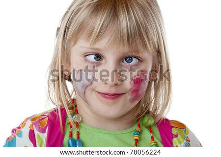 Young blonde pretty girl with painted cheeks turns her eyes. Isolated on white background. - stock photo