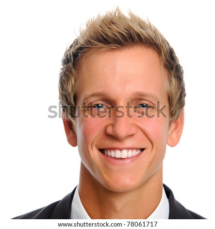 Young blonde professional in business suit smiling