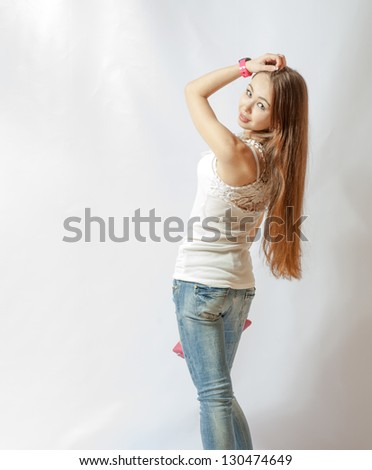 young blonde wearing jeans jacket torso shot