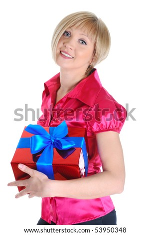 Young blonde with a gift. Isolated on white background - stock photo