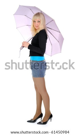 young blonde with lilac umbrella on  white background.